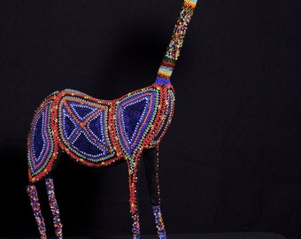 """Giraffe Bead and Wire Sculpture Zulu Vintage  -  27.5"""" H X 21""""  4"""" W Handcrafted in South Africa"""