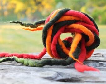 Felt Strings Dread Rope Cord Scarlet Red Pumpkin Orange Green Juicy Colors Summer Felted Wool Set of 3 Long Necklace Belt Hair Headband