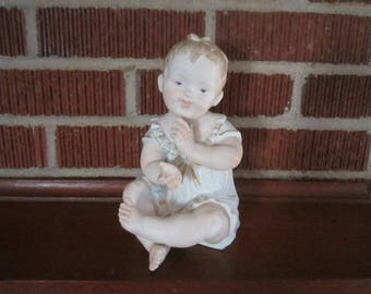 """Vintage Large 8"""" Bisque Sitting Piano Baby Figurine No.3"""