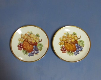 Porcelain Hand Painted Bavaria Fruit Plates Mitterteich in Germany Set of 2