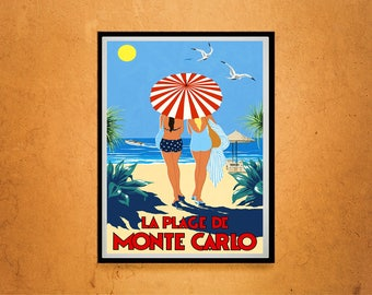 Reprint of a Vintage 1930s Monte Carlo Travel Poster