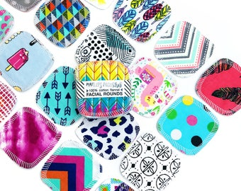 """20 Reusable 3"""" FACIAL ROUNDS made from flannel scraps in mixed prints."""