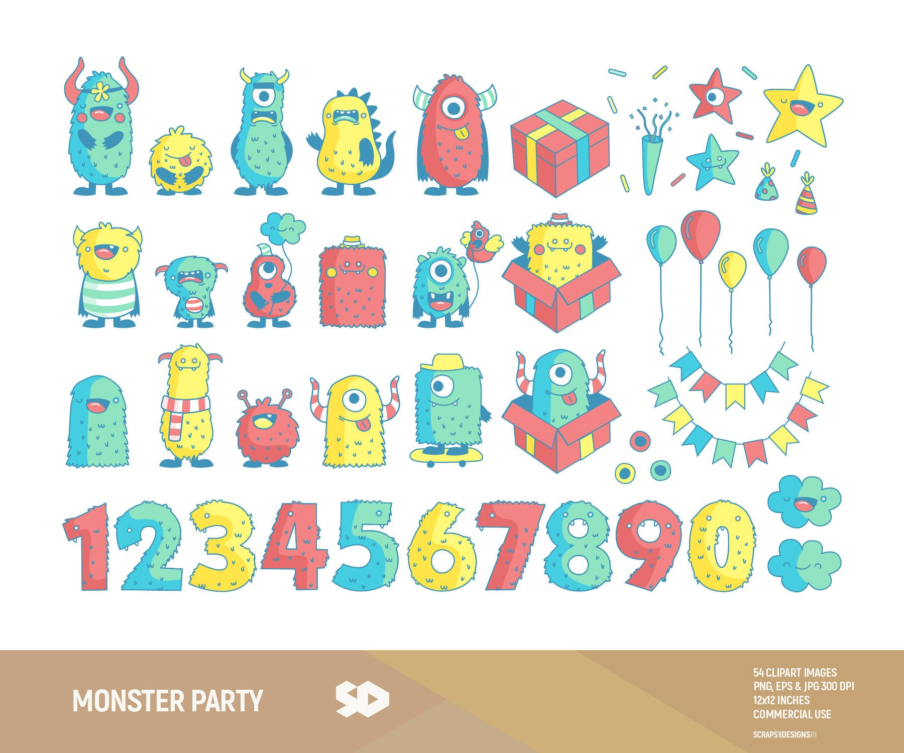 Monster party clipart, children clip art, kids boys girls clipart ...