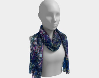 Tiger Lilies at Night Long Scarf