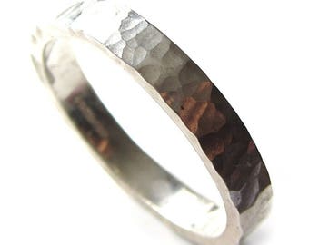 Simple  hammered sterling silver wedding ring for men and women