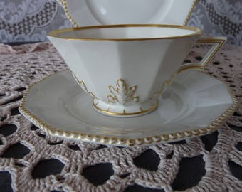 Nymphenburg Bavaria Germany (Perl) PEARL GOLD on White - One - Dodecagon shape Tea Cup and Saucer Set OR Demitasse Espresso Cup & Saucer Set
