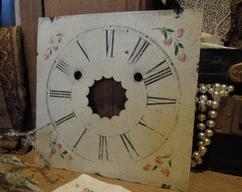 Vintage Pink Floral Clock Face / Antique Tin Clock Face / Painted Metal Clock Face Part