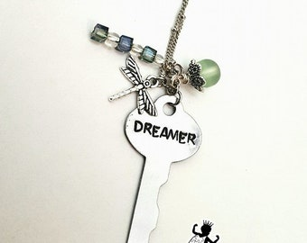Dreamer Key Necklace, Dreamer Necklace, Dragonfly Necklace, Dragonfly Charm, Key Necklace, Dreamer, Key Jewelry, Dreamer Jewelry, Gift