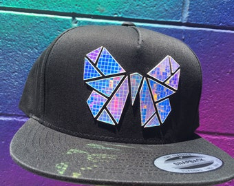 Chrome Monarchy Snapback | Butterfly Hat | Holographic | EDC | Rave | EDM | Holiday Gifts | Gifts for Him | Gifts for Her