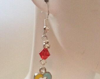 Autism Awareness Heart Ribbon Dangle Earrings - Colorful Awareness Ribbons