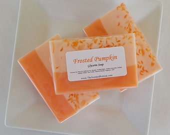 Soap - Frosted Pumpkin Glycerin Soap - Fall Thanksgiving Holiday Hostess Gift