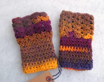 Purple yellow brown crocheted mittens