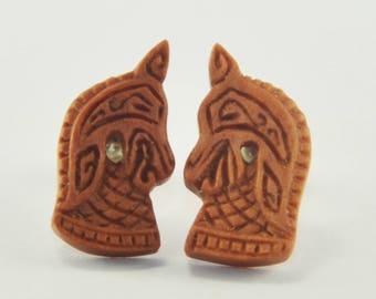 Ancient Knight Stirrup Earrings Stud Loop Posts - Sabo Wood