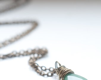 Aventurine necklace - faceted briolette pendant - apple green gemstone - wire wrapped - oxidised brass - good luck talisman.