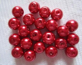 25 bella Natale rosso rotondo vetro perle perline 8mm