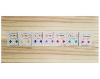 Cactus Post Earrings // Rainbow Cactus // Acrylic Earrings // Laser cut Earrings // Stud Earrings // Cactus // Rainbow // Laser Cut Cactus