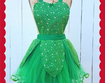 Tinkerbell costume apron, Tinkerbell tutu, womens apron, fairy costume, costume apron, Halloween costume, retro apron, READY TO SHIP costume