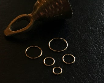 Thin tiny gold nose ring, Hoop earring, Small cartilage helix earring, Dainty hugging sleeper hoop, 4 5 6mm 8mm 10mm Light weight