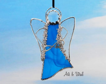 "Blue Angel Stained Glass Suncatcher - Carrier INFINITY LOVE or LOVE - 5 ""x 3"" (12 x 7 cm),  with decorative solder"