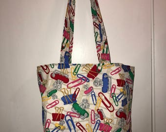 "Paperclips and Binder Clips Everywhere!   w/ matching handles cotton fabric handmade 16"" Tote Bag"