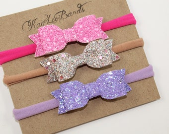 Dainty Bow Headband Set.  Newborn Bow Headband.  Pink Headband.  Silver Headband.  Purple Headband. Baby Girl Headband Set.