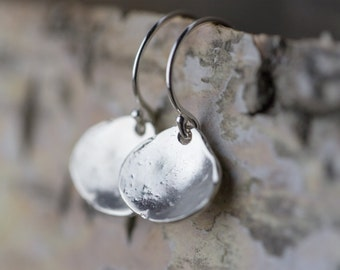 Tiny Sterling Silver Sea Shell Dangle Earrings, Gift for Women, Gift for Her, Jewelry Handmade by Burnish