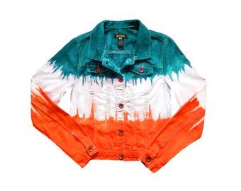 Orange and Aqua Tie Dye Jacket