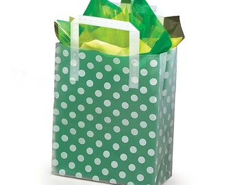 12 Plastic White POLKADOTS Frosted Retail Gift Bags TOTES with Handles (Free Shipping!)