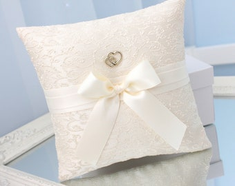 ivory ring bearer pillow with gold, ivory ring bearer, ivory wedding ring bearer, ivory wedding ring pillow, beige gold ring bearer pillow