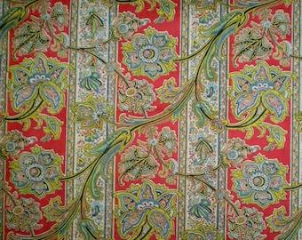 "Vintage 50s Paisley Jacobean Floral Fabric Yardage 36"" x 102"""