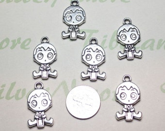 6 pcs per pack 24x12mm Reversible Baby Boy or Girl Charm with a bottle Antique Silver Finish Lead Free Pewter