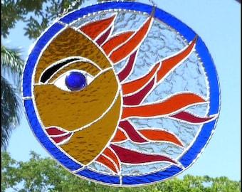 "Sun, Stained Glass Sun Catcher, Decorative Sun Catchers, 12"",  Handcrafted Stained Glass Suncatcher, Glass Garden Decor,  Suncatchers - 9601"