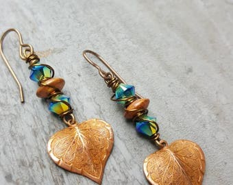 Earrings, Swarovski crystal and copper leaf dangle earrings
