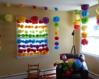 72 CONNECTING PuffScape Window Curtain DIY Tissue Paper Pom Pom Flower Puffs Rainbow Wedding First Birthday Party -EVENTS Handmade by Dorana