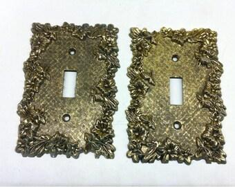 En laiton interrupteur - plaque interrupteur métal doré orné la couverture - ensemble de deux