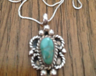 Old Pawn Silver Turquoise Pendant Necklace