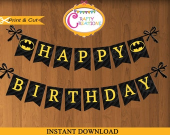 Batman Banner - Printable Batman Birthday Party Banner- Batman Birthday Banner- Batman Decorations - INSTANT DOWNLOAD - CraftyCreationsUAE