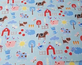 Flannel Fabric - Farm on Blue - By the yard - 100% Cotton Flannel