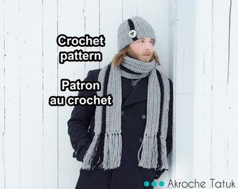 PDF PATTERN ONLY! Frontenak Kit. Crochet hat and scarf pattern by Akroche tatuk. 4 sizes.  (english and french).