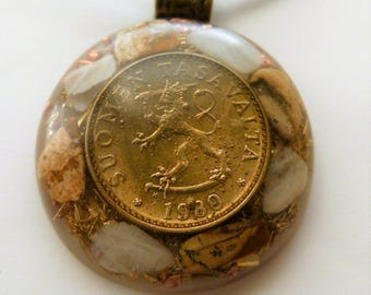 TACHYON ENERGY GENERATOR pendant necklace moonstone / picture jasper & 1980 Finnish Finland coin