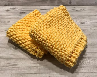 Set of 2 Hand Knit Spa Wash Cloth / Dish Cloth Sunshine Yellow
