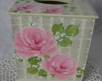 Pink Roses Tissue Box Cover Holder Hand Painted Wood Home Decor