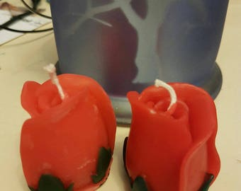 Set of 2 Beeswax Red Rose Candles