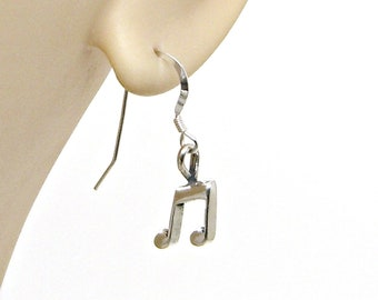 Earrings Music Note Sterling Silver Dangle Drop Ear Wires Musician Orchestra Band Singer Songwriter 1887 EW