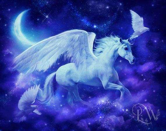 white winged Pegasus horse fantasy art print