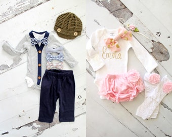 Easter Spring TWINS Baby Boy & Baby Girl Matching Outfits. Cardigan and Bow Tie and Girl Bow Bodysuits Sets. Coming Home Outfits, Boho Baby