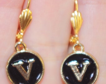V Initial 2 Sided Vintage 14K Gold Filled Custom Made Black Onyx Lucite  Lever Back Circle Earrings
