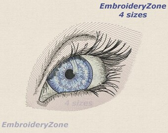 The woman's eyes machine Embroidery design.Eyes with lashes embroidery design.4 sizes.Eye of Providence.Only for very light color of fabrics