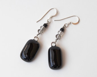 Fused Glass Earrings - Black Rectangle Glass - Fused Glass Jewelry - Black and Grey Crystal Beads - Sterling Silver Findings
