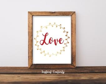 "Happy Valentnes, ""Love"" Art, Valentines Day Decor, Valentines Print, Printable Art,  Print Wall Art, Valentines Decoration,  Gallery Wall"